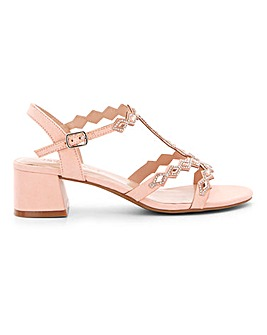 Embellished Block Heel T Bar Sandals Wide E Fit