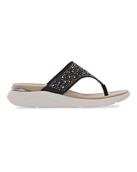 Heavenly Feet Diamante Detail Toe Post Sandals Wide E Fit
