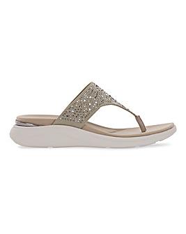 Heavenly Feet Diamante Detail Toe Post Sandals Extra Wide EEE Fit