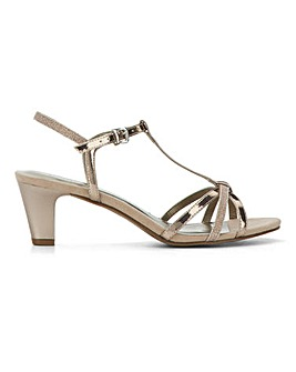 Heavenly Soles T Bar Occasion Sandals Wide E Fit