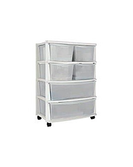 6 Drawer Plastic Wide Unit - White