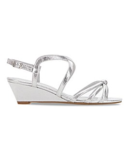 Heavenly Soles Knot Detail Wedge Sandals Wide E Fit