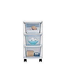 3 Drawer Slim Plastic Storage - White.