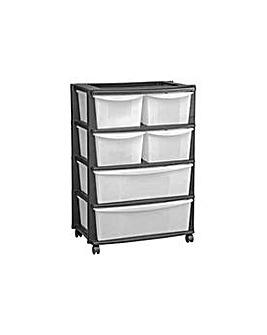6 Drawer Plastic Wide  Storage - Black