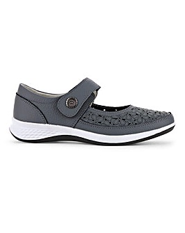 Leather Touch And Close Bar Fastening Shoes Wide E Fit