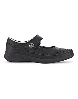 Leather Touch And Close Bar Fastening Shoes Ultra Wide EEEEE Fit