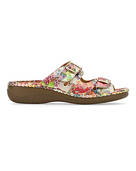 Cushion Walk Twin Buckle Mule Sandals Extra Wide EEE Fit