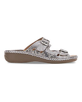 Cushion Walk Twin Buckle Mule Sandals Wide E Fit