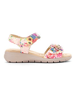 Cushion Walk Touch And Close Flower Trim Sandals Extra Wide EEE Fit