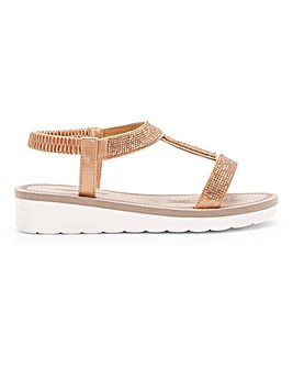 Cushion Walk Lightweight Diamante Sandals Wide E Fit