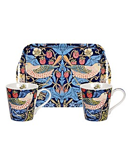 Strawberry Thief Blue Mug & Tray Set