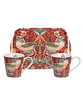 Strawberry Thief Red Mug & Tray Set