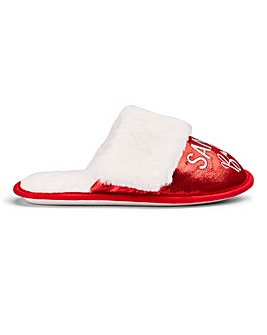 Santa Baby Plush Mule Slippers Wide E Fit