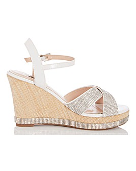 Quiz Glitter Wedge Sandals Wide E Fit