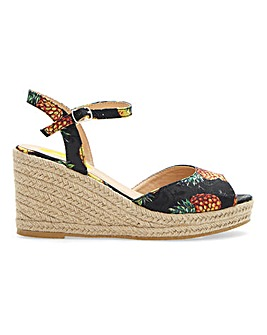 Joe Browns Pineapple Print Espadrille Wedge Sandals Extra Wide EEE Fit.