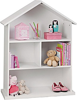 Mia White Dolls House Bookcase
