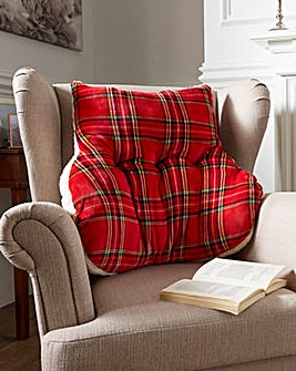 Tartan Sherpa Back Support Cushion