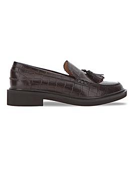 Leather Croc Print Tassel Loafer Wide E Fit