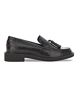 Leather Croc Print Tassel Loafer Extra Wide EEE Fit