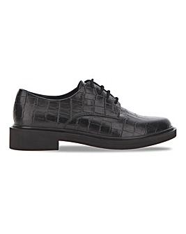 Croc Embossed Leather Lace Up Shoe Extra Wide EEE Fit