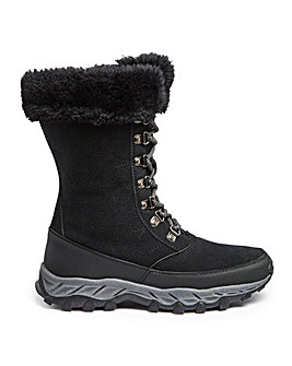 Ladies Snow Boot with Fur Trim Extra Wide EEE Fit