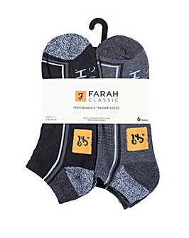 6 Pack Farah Performance Trainer Socks