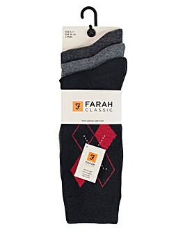 3 Pack Farah Argyle Socks with Gentle Grip Top