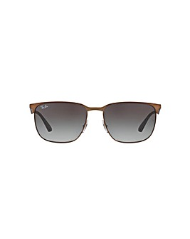 Ray-Ban Metal Half Rim Square Sunglasses