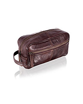 "Woodland Leather 9.0"" Wash Bag Zip Pkt"