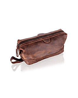 "Woodland Leather 9.0"" Wash Bag Stud End"