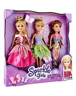 Sparkle Girlz Set of 3 Fantasy Dolls