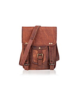 "Woodland Leather 12"" Buckle Front Bag"