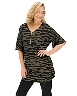 Khaki Animal Print Zip Front Tunic