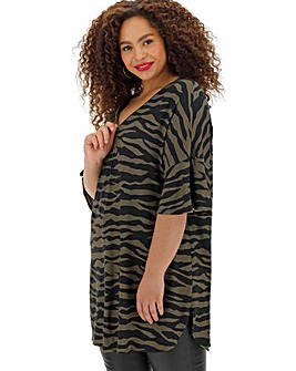 Animal Print Zip Front Tunic