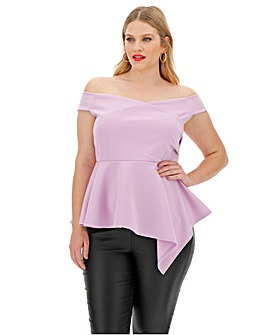 Lilac Scuba Wrap Asymmetric Hem Top