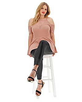 Nude Lace Insert Cold Shoulder Top