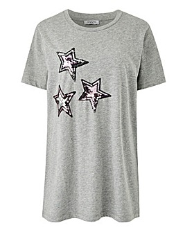 Multi Sequin Star Grey Marl T-Shirt