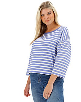 Stripe Boxy 3/4 Sleeve Top