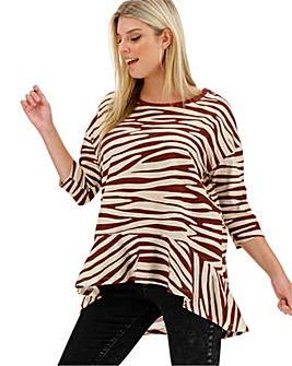 Zebra Frill Hem 3/4 Sleeve Top