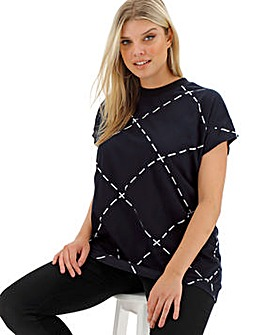 Black & White Check High Neck T-Shirt
