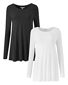 Black/ Wht 2 Pack Long Sleeve Swing Tops
