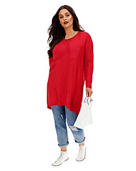 Red Drop Shoulder Pocket Tunic