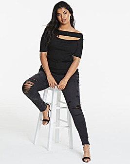 Cut Out Rib Bardot Top