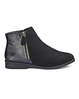 Snake Fabric Detail Ankle Boots E Fit