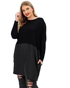 Colour Block Tunic with Satin Skirt