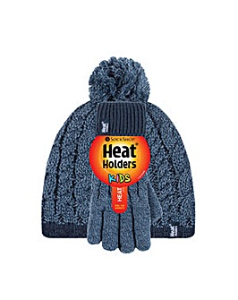 Kids Cable Pom Pom Hat and Gloves
