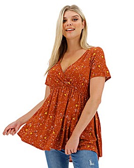 Rust Floral Wrap Swing Tunic