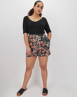Floral Print Crepe Shorts