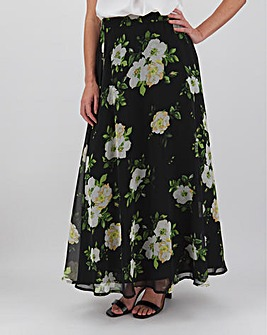 Floral Print Georgette Maxi Skirt