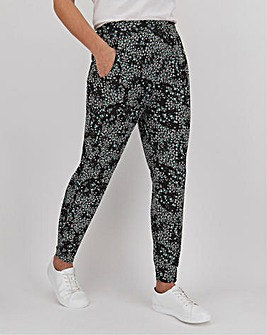 Floral Print Jersey Jogger Tapered Trousers Short